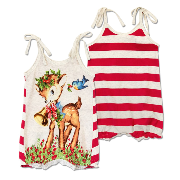 Christmas Baby-Organic Cotton Romper -Santa's Deerest & Bluebird