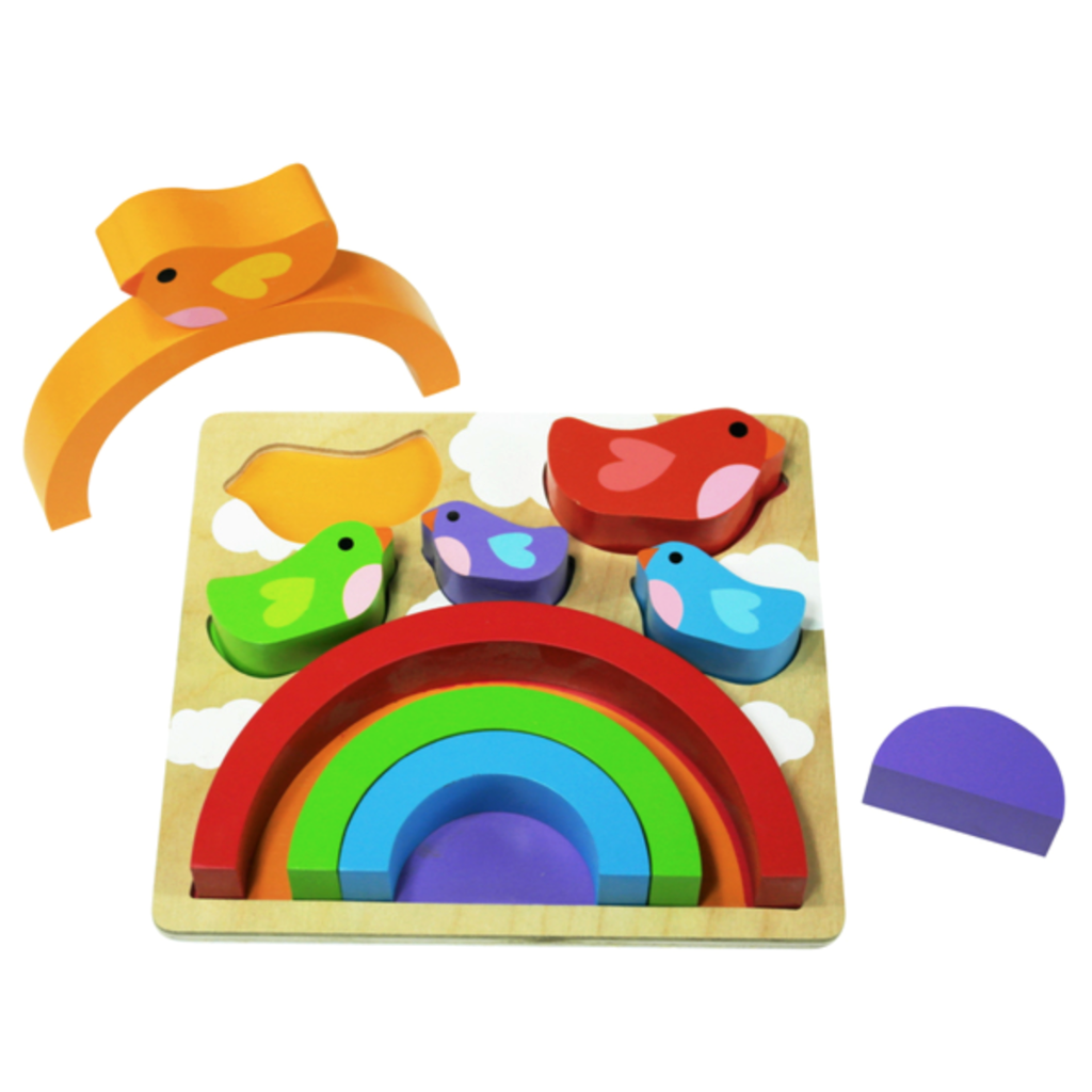 Rainbow & Bird Wooden Puzzle Play Set