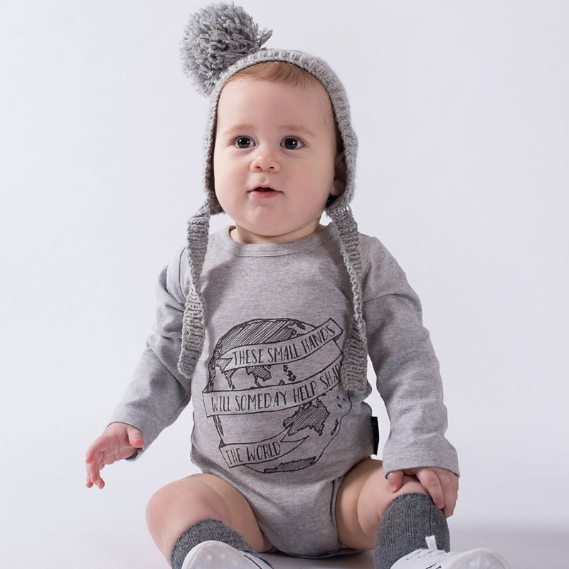 'The World' Long Sleeve Grey Onesie ORGANIC