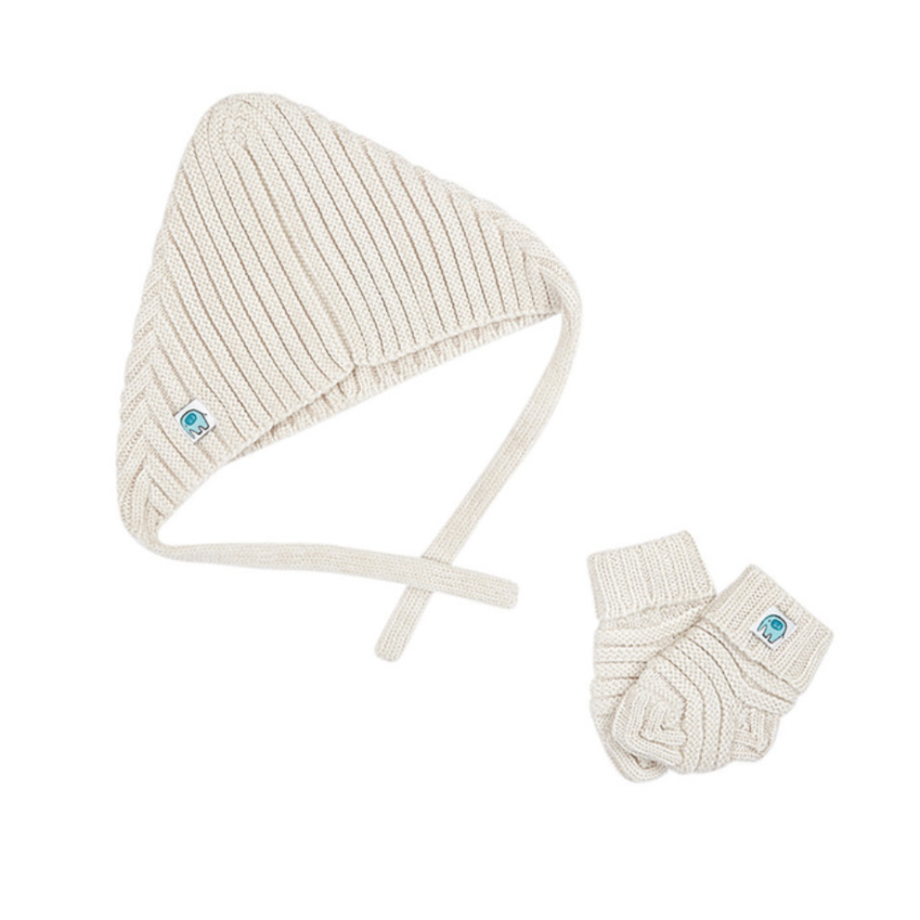 Merino Wool Baby Hat & Bootie set - Milk