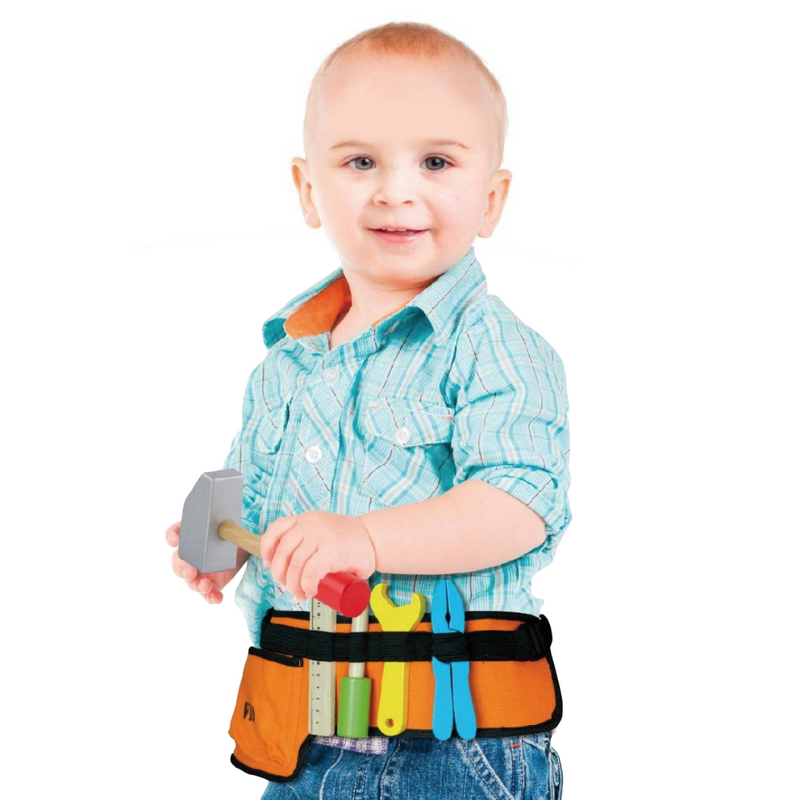 Fabric Tool Belt & Wooden Tools Set