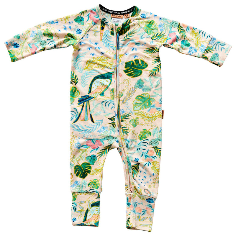 Birds Of Paradise Organic Zip Romper