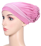 Spikerking Womens Chemo Headband Beanie Sleep Cap Hairloss Cancer with flower