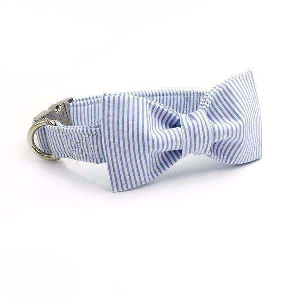 Baby Blue & White Striped Dog Bow Tie Collar Leash Collars - iplayfetch.com