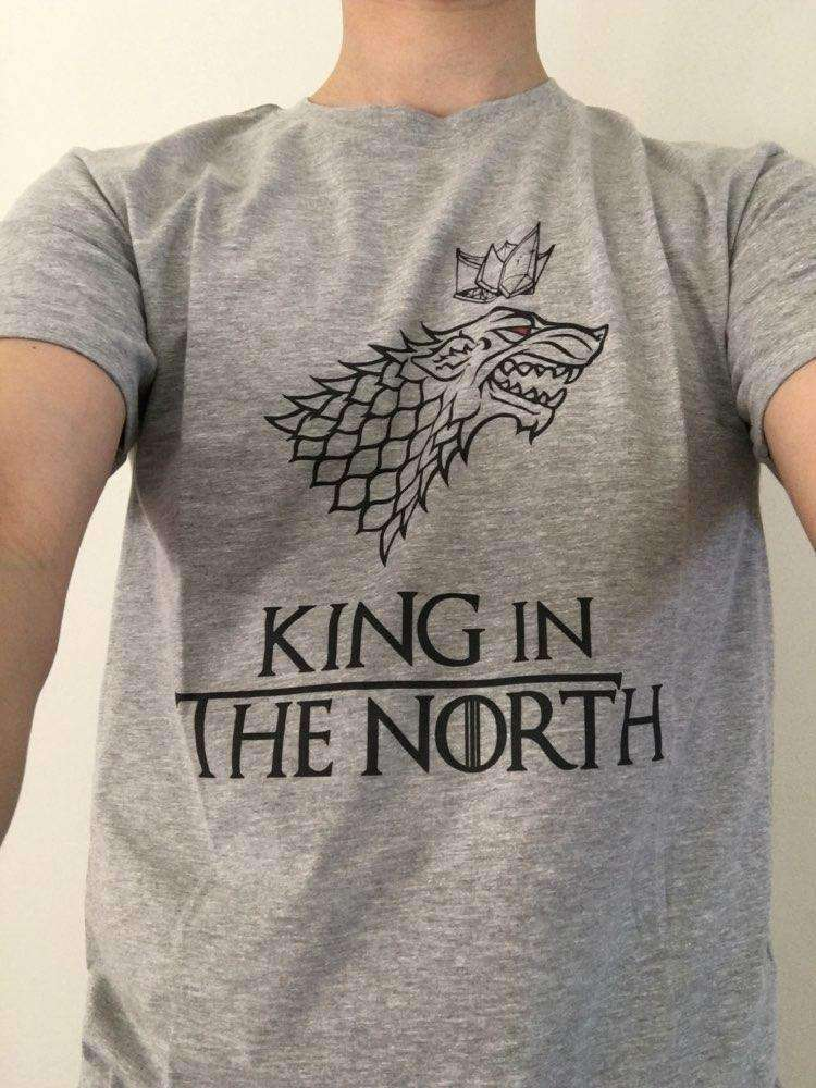 """King In The North"" Women's T-Shirt of House Stark (white / grey) Shirts - iplayfetch.com"