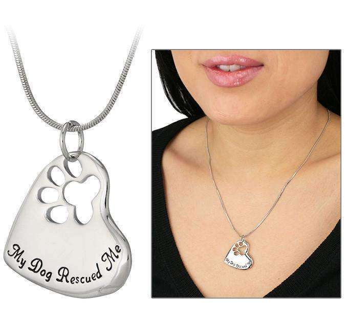 """My Dog Rescued Me"" Heart Shaped Necklace Jewellery - iplayfetch.com"