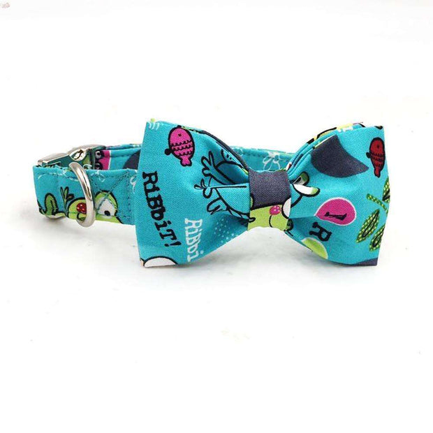 Turquoise Froggy Dog Bow Tie Collar Leash  - iplayfetch.com