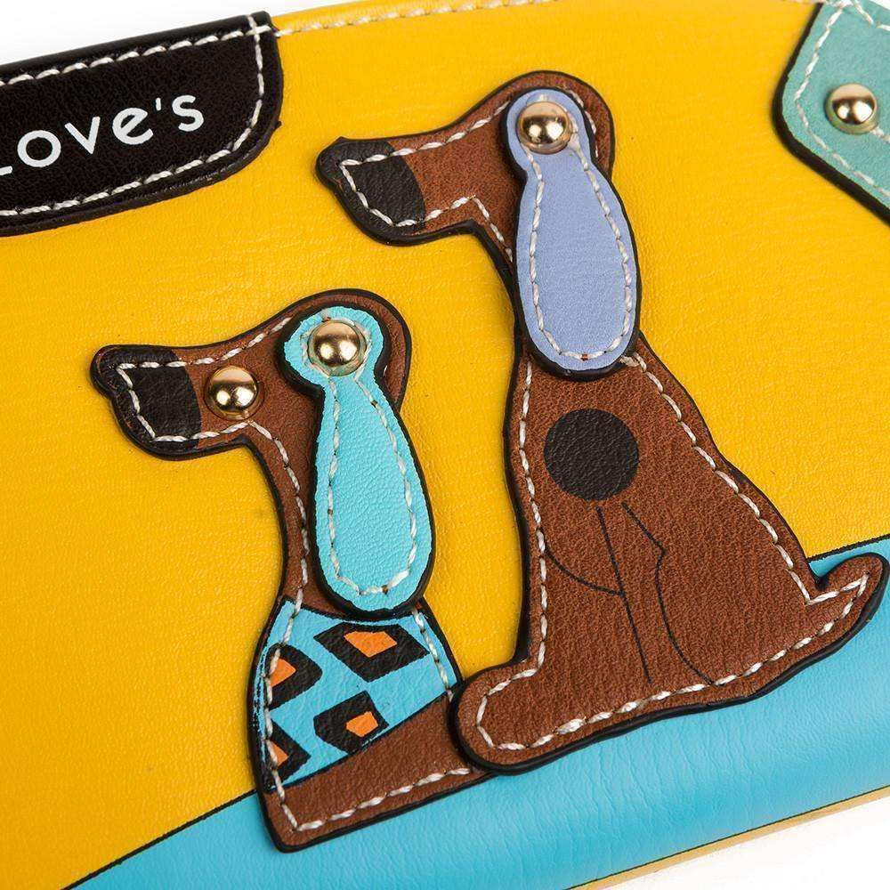 Leather Fashion Designer Dog-Themed Wallet (Curved) Purse - iplayfetch.com