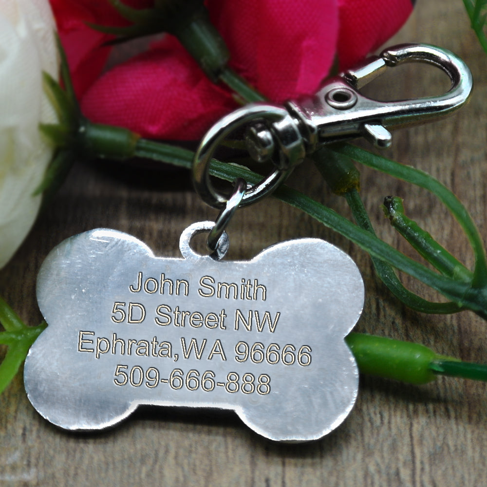 Bone Shaped Engraved Identification Dog Tag (4 colours) Dog Tags - iplayfetch.com