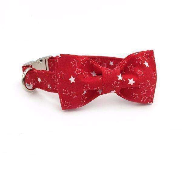 Red Star Twinkle Dog Bow Tie Collar Leash Collars - iplayfetch.com