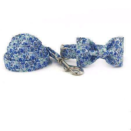 Blue Breeze Floral Dog Bow Tie Collar Leash Collars - iplayfetch.com