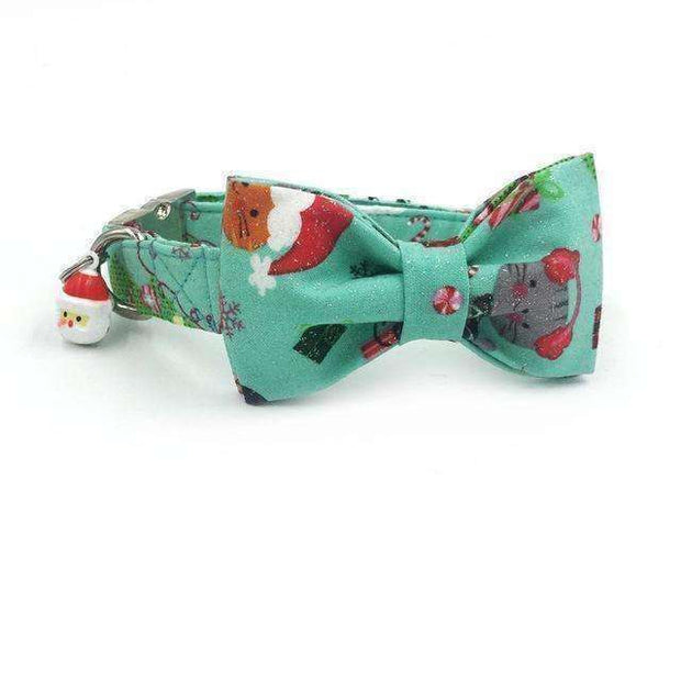 Green Mint Snowy Christmas Dog Bow Tie Collar Leash (w/ santa charm) Collars - iplayfetch.com