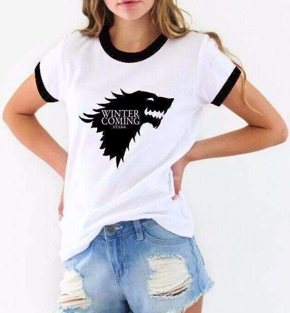 "Coloured Sleeve ""Winter Is Coming"" Women's T-Shirt of House Stark (GoT) (Red / Black) Shirts - iplayfetch.com"
