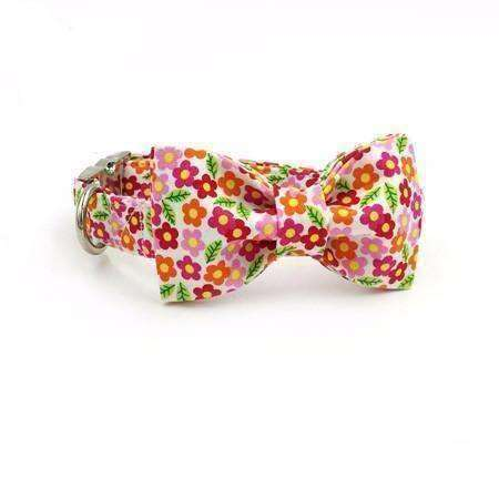 Orange Red & Pink Floral Dog Bow Tie Collar Leash Collars - iplayfetch.com