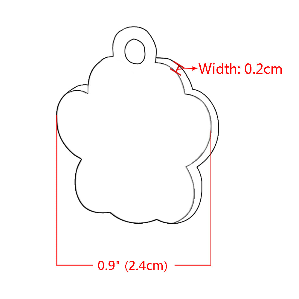 Glitter Paw Shaped Engraved Identification Dog Tag (6 colours)