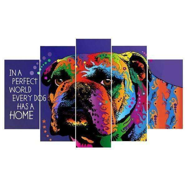 Large Framed 5-Piece Doggy Canvas Paintings Picture - iplayfetch.com