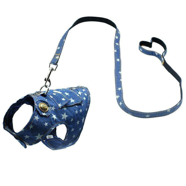 Darling Denim Dog Harness & Leash Set (puppy & smaller breeds) Harness - iplayfetch.com