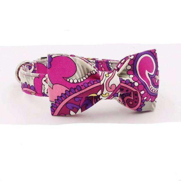 Pink & Purple Floral Dog Bow Tie Collar Leash Collars - iplayfetch.com