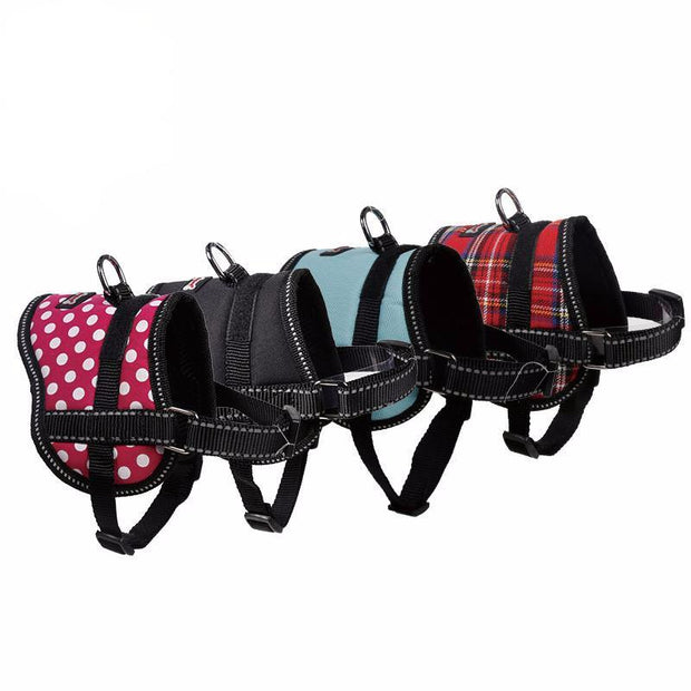 Mini Reflective Dog Harness (optional service label and leash)