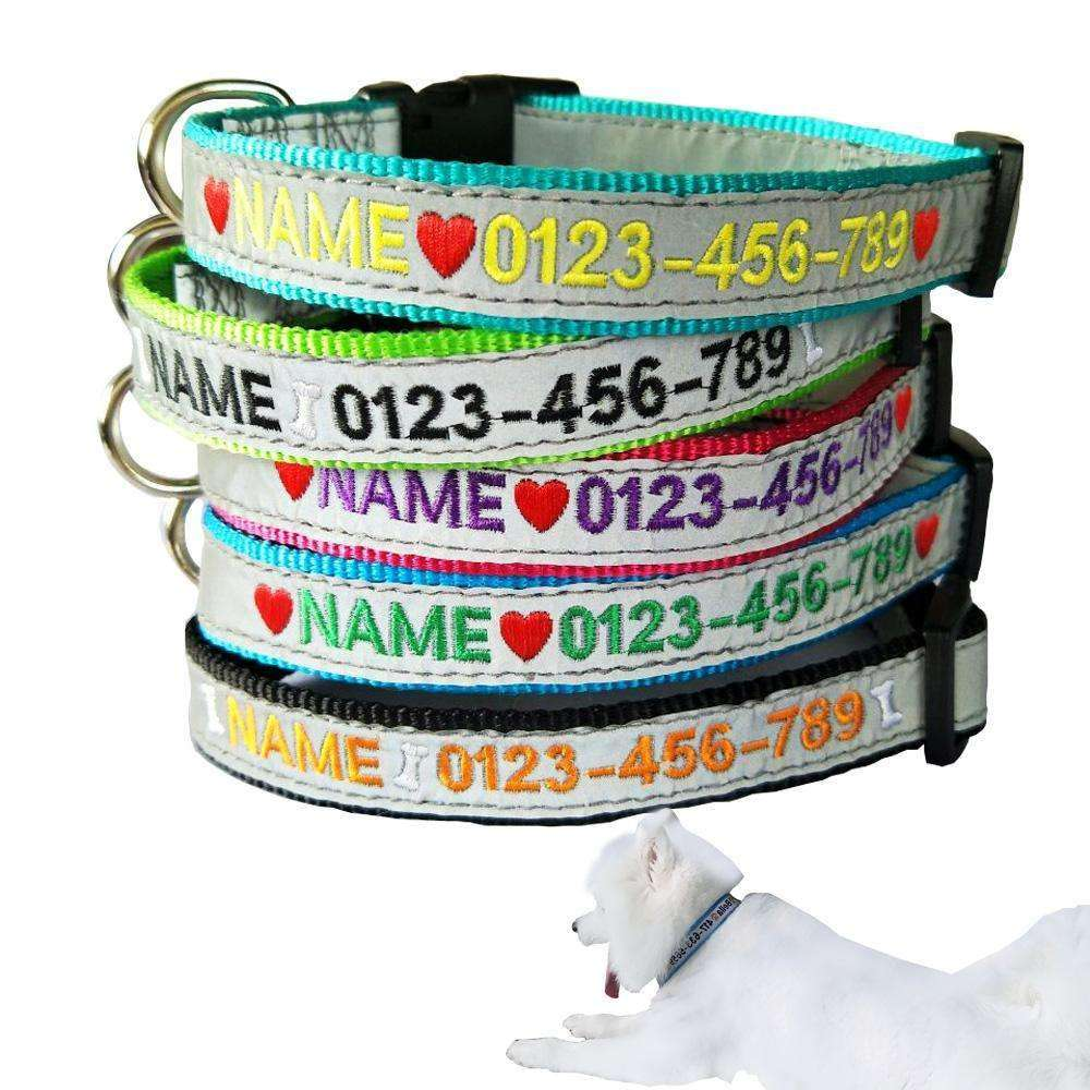 Brite Nite Reflective Embroidered Identification Dog Collars Collars - iplayfetch.com