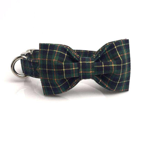 Dark Green Classic Plaid Dog Bow Tie Collar Leash Collars - iplayfetch.com