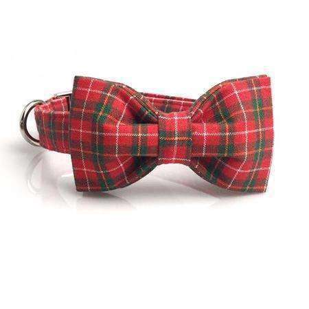 Red & Green Plaid Dog Bow Tie Collar Leash Collars - iplayfetch.com