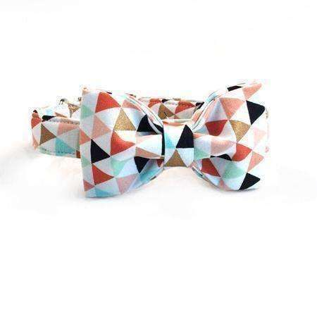 Pastel Pyramids Dog Bow Tie Collar Leash Collars - iplayfetch.com