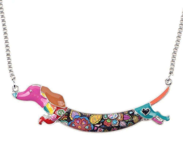 Flying Dachshund Rainbow Series Pendant Necklace Jewellery - iplayfetch.com