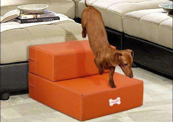 Leather 2-Step Doggy Staircase (Assorted Colours) Stairs - iplayfetch.com