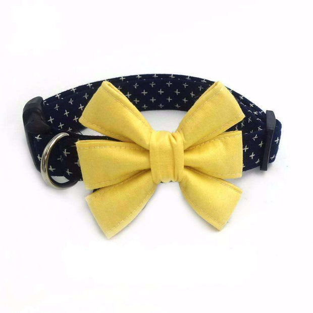 Yellow Light Navy Night Dog Bow Tie Collar (2 types) Collars - iplayfetch.com