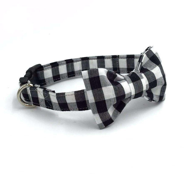 Ebony & Ivory Check Dog Bow Tie Collar Leash Collars - iplayfetch.com