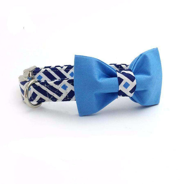 Double Blue Square Dog Bow Tie Collar Leash Collars - iplayfetch.com