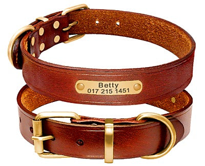 Vintage Genuine Leather Customize Dog Collar