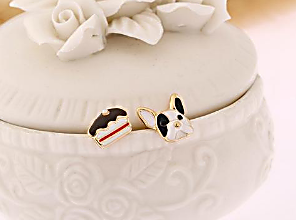 French Bulldog & Cake Earring
