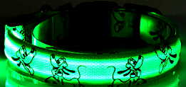 green cartoon led dog collar