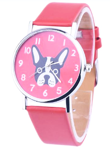 hot red french bulldog watch