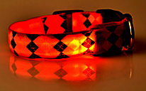 red rhombus led dog collar