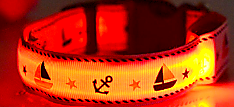 Yellow LED Dog Collar With Cute Sailor Pattern