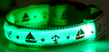 Green LED Dog Collar With Cute Sailor Pattern