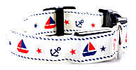 white LED Dog Collar With Cute Sailor Pattern