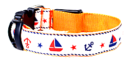 Orange LED Dog Collar With Cute Sailor Pattern