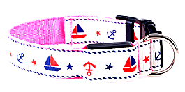 Pink LED Dog Collar With Cute Sailor Pattern