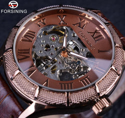 Forsining Skeleton Transparent Roman Steampunk Wristwatch - [product_collection]