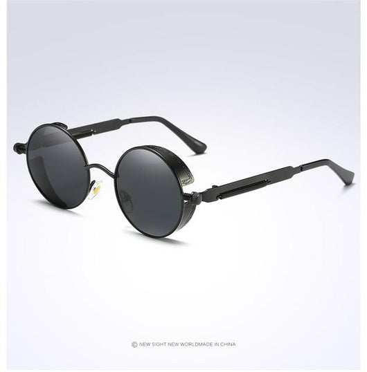 Eyecrafters Round Metal Polarized Unisex Gothic Steampunk Sunglasses - [product_collection]