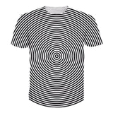 Black White Striped Style Swirl Pattern 3-D T Shirt - [product_collection]