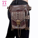 Corzzet Leather Unisex Steampunk Retro Gothic  Hip and Holster Waist Bag Thigh Wallet - [product_collection]