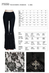 Devil Fashion Gothic Sexy Lace Stretch Leggings for Women Steampunk High Waist Casual Black Flare Pants - [product_collection]