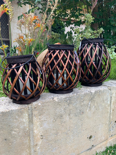 Wicker Lanterns Brown