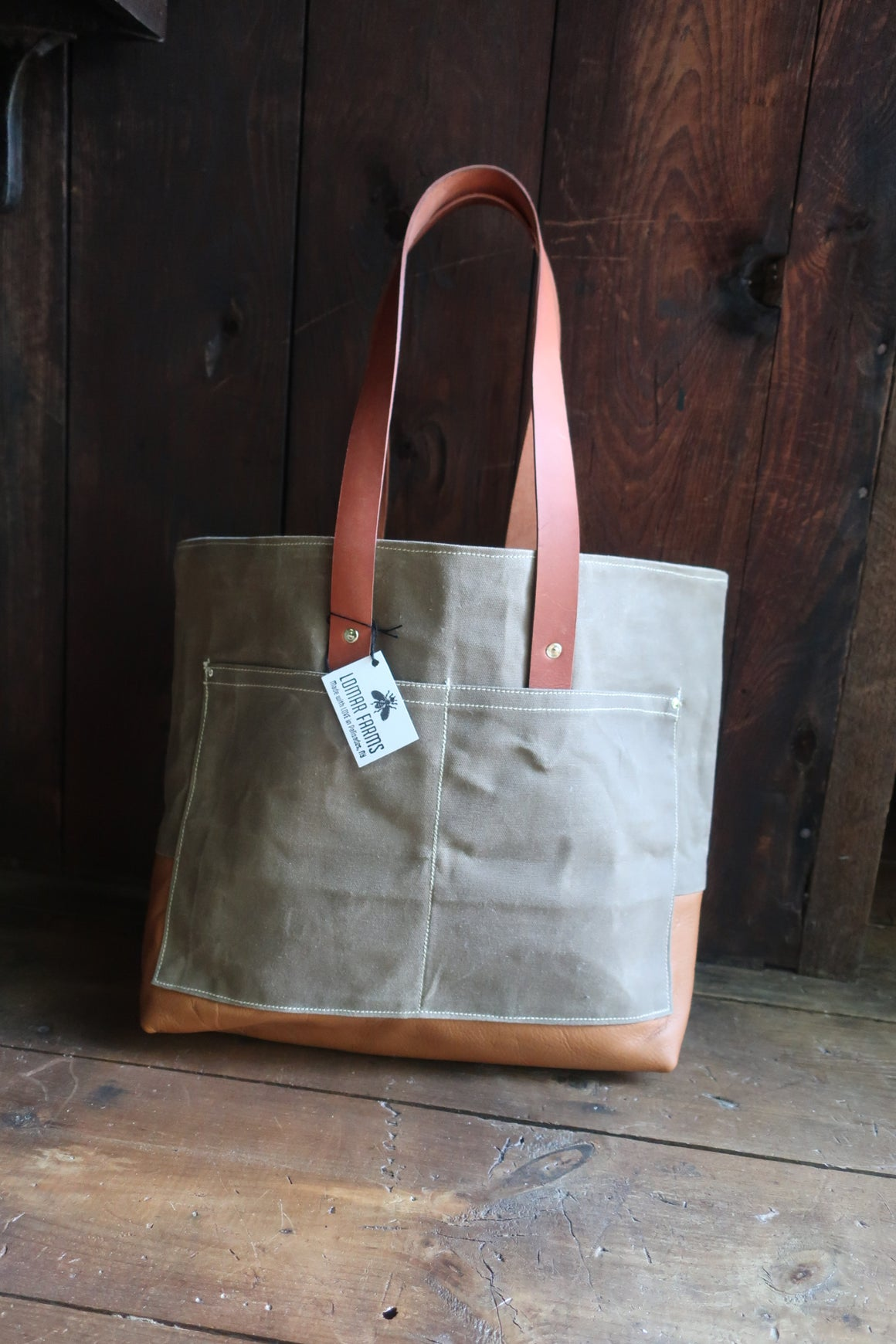 """ Marley"" Farm Bag (Light Brown/Grey Canvas With tan Leather Bottom & Straps)"