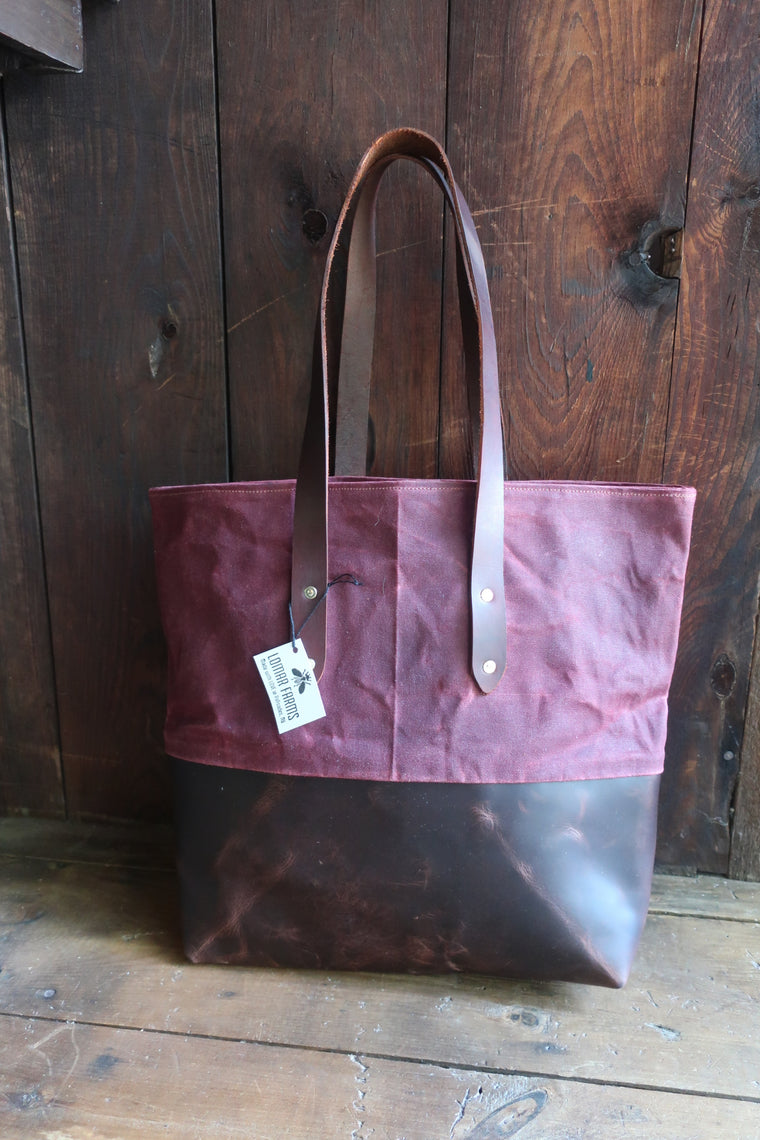 """Xander"" Farm Bag (Burgandy Beeswax Canvas With Chocolate Leather Bottom & Straps)"